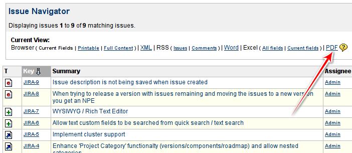 JIRA PDF View search