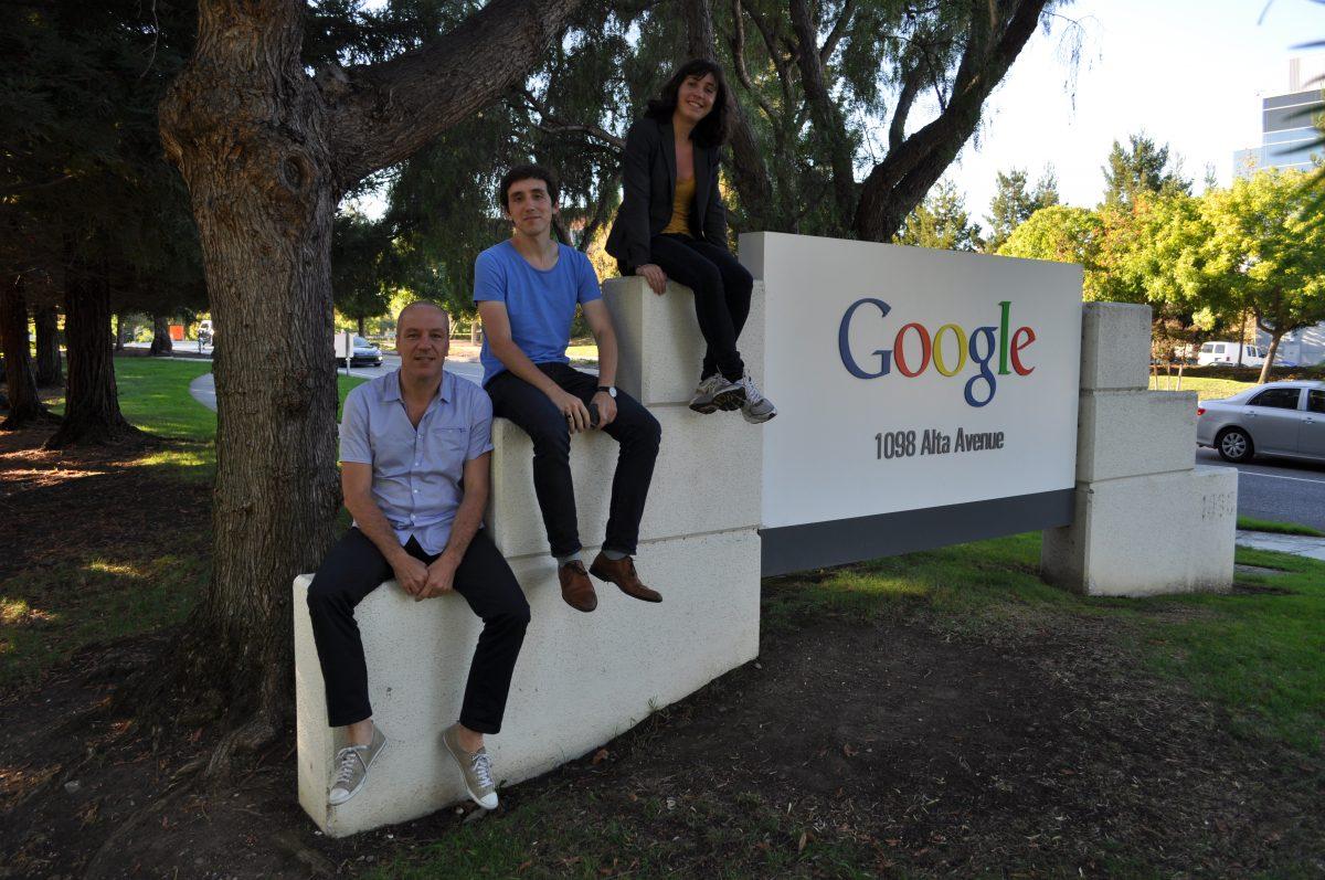 Francois Dussurget, Lucas Dussurget and Julie d'Antin in front of Google headquarters