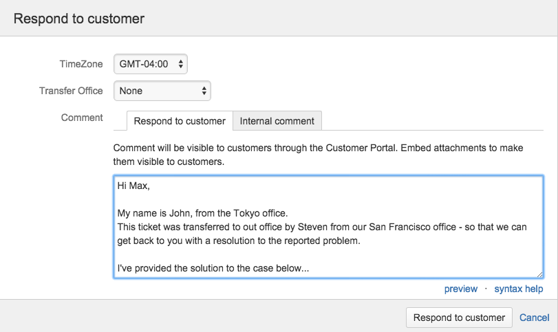 Respond to customer