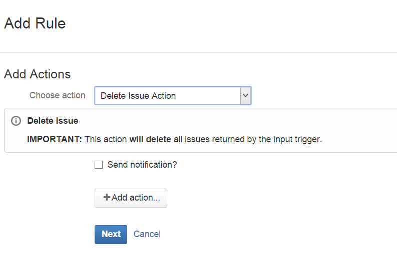 Delete issue Action
