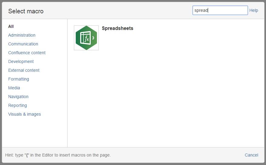 Add Spreadsheets macro