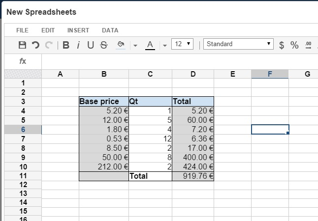Edit your Spreadsheets