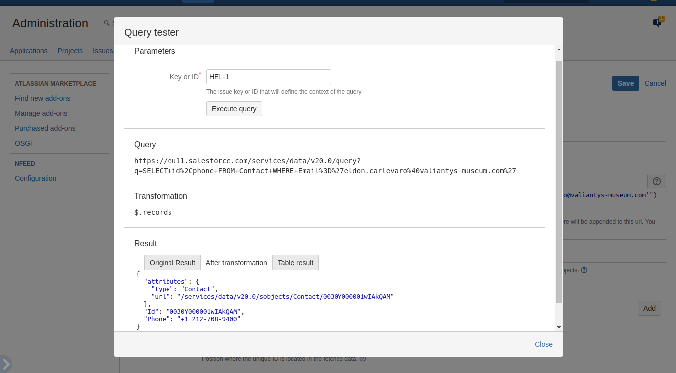 Query tester, after transformation