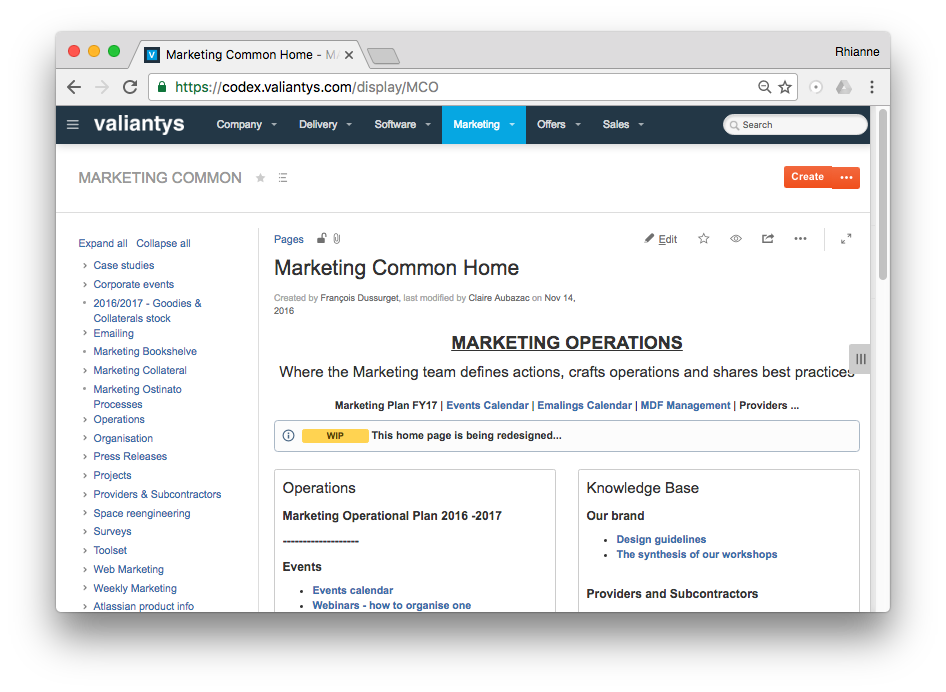 Creating content in Confluence