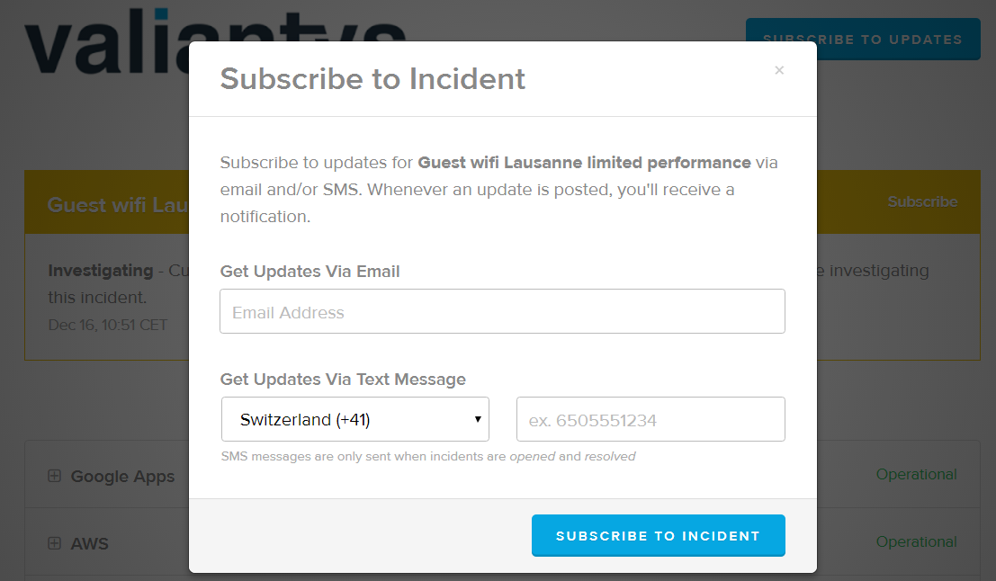Subscribe to Incident
