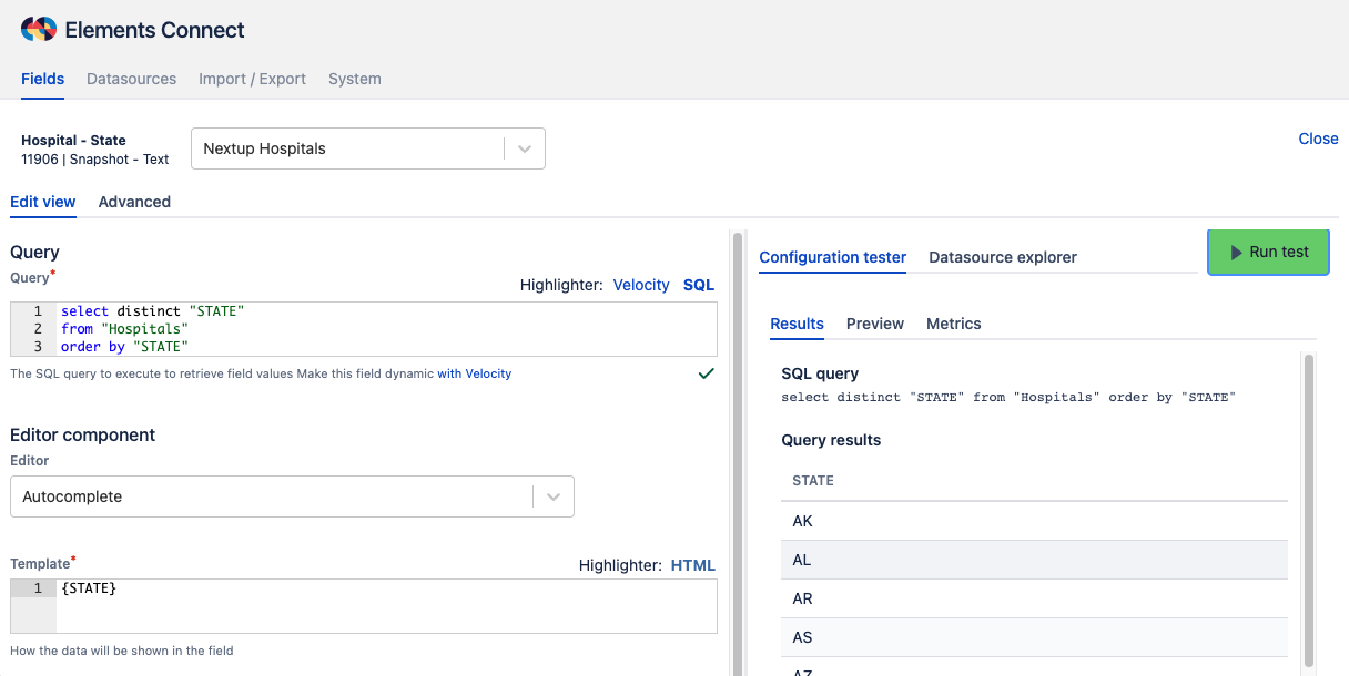 Configure Elements Connect custom field